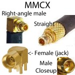 MMCX connector views showing male plug right angle, straight male, female / jack, closeup of male