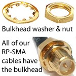 RP-SMA Bulkhead nut & washer to mount connector on enclosure or PCB