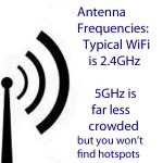 If you want to connect to hotspots and/or use typical WiFi, use 2.4GHz. 5GHz is much, much less crowded but you won't find 5GHz hotspots. 5GHz is typically used by professionals such as Wireless ISPs. Typical WiFi used by hotspots and your friends and family is 2.4GHz