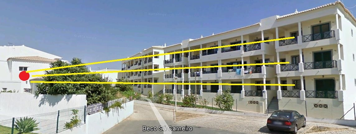 Use a UniFi Outdoor AP in the red circle to send signal for the apartments on the yellow line (buildings, its only for 4 apartments), the distance is about 40-50 meters