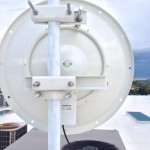 RocketDish 30dBi on roof on the office side of link