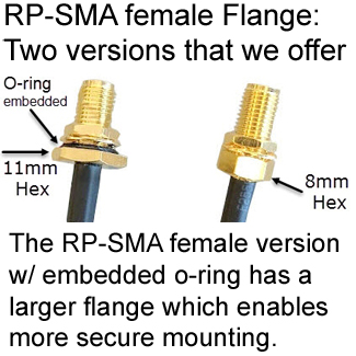 RP-SMA female connector Flange options:  7/16-inch and 5/16-inch