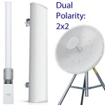 DUAL-POLARITY ANTENNAS are two antennas in one, one with horizontal and one with vertical polarization.