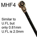 MHF4 is much smaller than U.FL, which is 2.0mm: MHF4 is 0.81mm