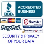 Privacy & Security: Policies & transaction security measures in place on this website.