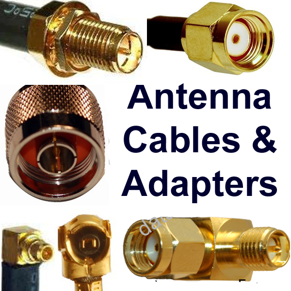 "Antenna cables connector types: Compatibilty with antenna jacks; gender of connectors; links to wide selection of antenna cables ""pigtails"""