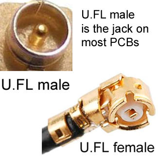 UFL male and female connectors