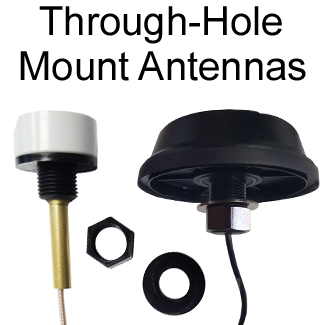 Through hole mount antennas for ceiling, wall, or panel mounting.